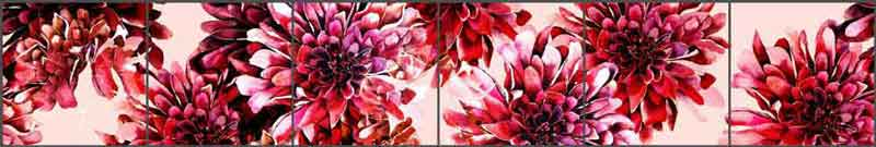 Mysak Chrysanthemums Floral Strip Ceramic Tile Mural - LM2-007