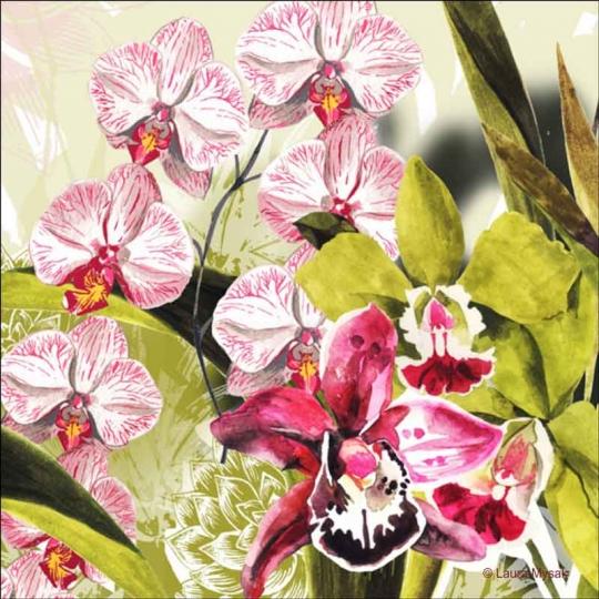 Exotic Orchids By Laura Mysak Ceramic Accent Decor Tile Lm2