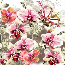 Orchid Fantasy by Laura Mysak Ceramic Accent & Decor Tile - LM2-010AT