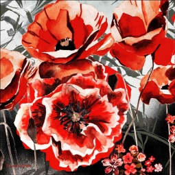 Poppy Meadow by Laura Mysak Ceramic Accent & Decor Tile - LM2-012AT