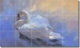 "Transformation by Leslie Macon - Swan Bird Ceramic Tile Mural 12.75"" x 21.25"""