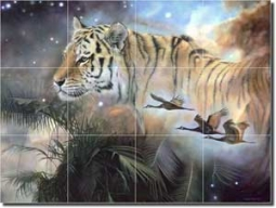 "Macon Tiger Animal Glass Tile Mural 24"" x 18"" - OB-LMA002"