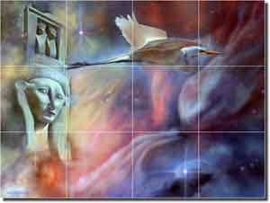 "Macon Oriental Abstract Glass Tile Mural 24"" x 18"" - LMA003"