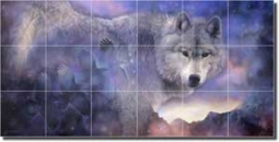 "Macon Wolf Animal Glass Tile Mural 36"" x 18"" - LMA005"