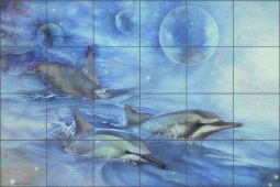 Dolphins of the Dreamtime by Leslie Macon Floor Tile Mural - LMA013