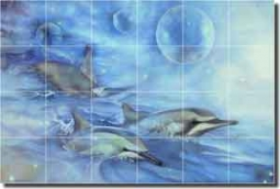 "Macon Dolphins Undersea Glass Tile Mural 36"" x 24"" - LMA013"