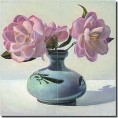 "Macon Floral Still Life Glass Tile Mural 12"" x 12"" - LMA021"