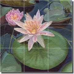 "Macon Water Lily Flower Glass Tile Mural 18"" x 18"" - LMA022"