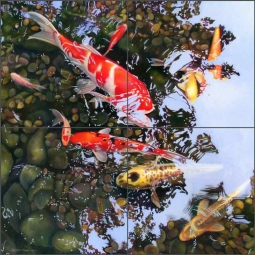 Koi Reflections #2 by Leslie Macon Ceramic Tile Mural LMA024