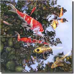 "Macon Koi Fish Floor Tile Mural 16"" x 16"" - LMA024"