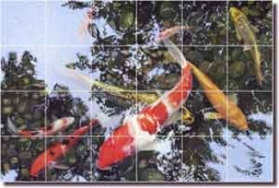 "Macon Koi Fish Oriental Glass Tile Mural 36"" x 24"" - LMA025"