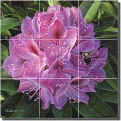 "Macon Bumblebee Floral Glass Wall Floor Tile Mural 18"" x 18"" - LMA030"