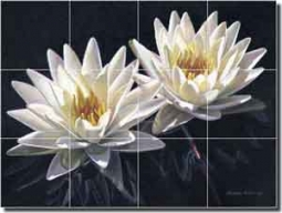 "Macon Flowers Floral Ceramic Tile Mural 17"" x 12.75"" - LMA032"