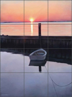 Harkers Island Sunset by Leslie Macon Ceramic Tile Mural - LMA033