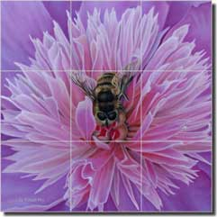 "Macon Floral Bee Ceramic Tile Mural 18"" x 18"" - LMA038"