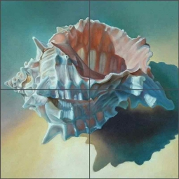 Conch Shell by Leslie Macon Ceramic Tile Mural LMA040
