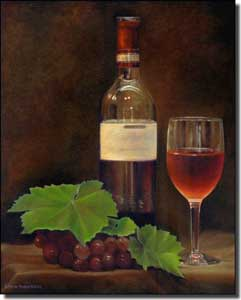 "Macon Wine Grapes Ceramic Accent Tile 8"" x 10"" - LMA042AT"