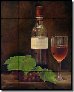 "Macon Wine Grapes Tumbled Marble Tile Mural 16"" x 20"" - LMA042"