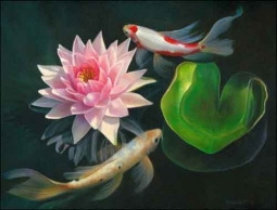 Macon Koi Fish Oriental Ceramic Accent Tile - LMA054AT