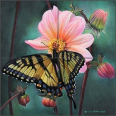 Dahlia and Butterfly Study by Leslie Macon Ceramic Tile Mural LMA056