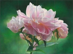 Peony Study I by Leslie Macon Ceramic Tile Mural LMA060
