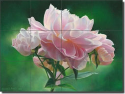 "Macon Peony Floral Ceramic Tile Mural 24"" x 18"" - LMA060"