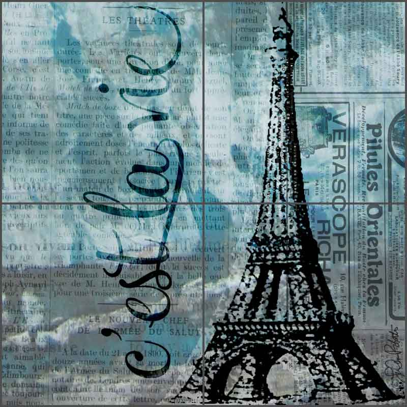 Feeling Blue and French by LuAnn Roberto Ceramic Tile Mural - LRA002