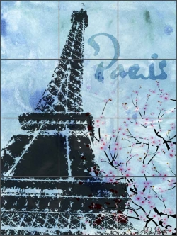 Roberto Paris Eiffel Tower Ceramic Tile Mural - LRA003
