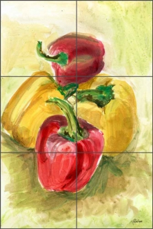 Bell Peppers by LuAnn Roberto Ceramic Tile Mural LRA006
