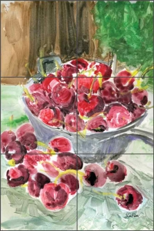 Roberto Cherries Fruit Ceramic Tile Mural - LRA007