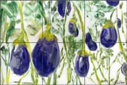 Roberto Eggplant Vegetable Art Ceramic Tile Mural - LRA008