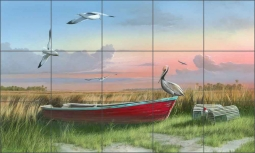 Gathering at Sunrise by Mike Brown Ceramic Tile Mural - MBA006