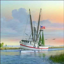 Brown Fishing Trawler Boat Ceramic Accent Tile - MBA009