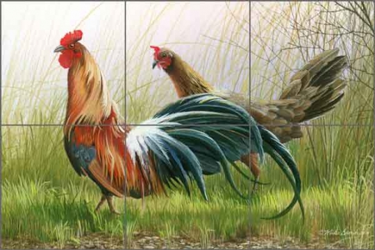 brown rooster art ceramic tile mural mba020 artwork on tile