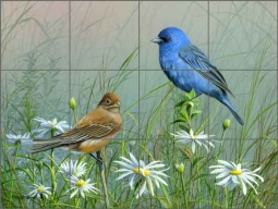 Indigo Bunting by Mike Brown Ceramic Tile Mural - MBA023