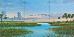 Intercoastal Sunset by Mike Brown Ceramic Tile Mural MBA034