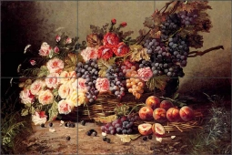 Still Life of Roses, Peaches and Grapes by Modeste Carlier Ceramic Tile Mural MC004