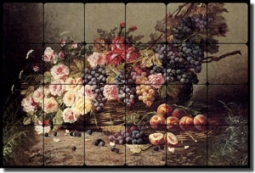 "Carlier Flowers Fruit Tumbled Marble Tile Mural 36"" x 24"" - MC004"