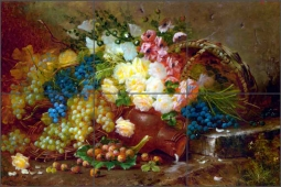Still Life with Grapes and Roses by Modeste Carlier Ceramic Tile Mural MC007