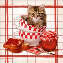 Cazenave Kitchen Kitten Ceramic Tile Mural - MC2-003a