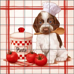 Cazenave Kitchen Puppy Ceramic Tile Mural - MC2-003d