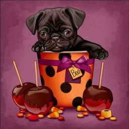 Cazenave Puppy Halloween Ceramic Accent & Decor Tile - MC2-005f