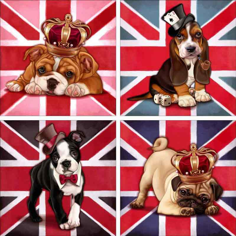 Dog Save the Queen by Maryline Cazenave Ceramic Accent & Decor Tile Set - MC2-006ATSet