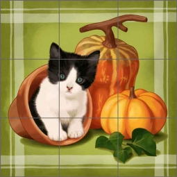 Cazenave Garden Kitten Art Ceramic Tile Mural - MC2-007b