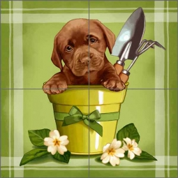 Cazenave Garden Puppy Ceramic Tile Mural MC2-007c