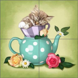 Cazenave Kitten Tea Pot Ceramic Tile Mural - MC2-010a