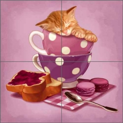 Cazenave Kitten Tea Pot Ceramic Tile Mural - MC2-010b