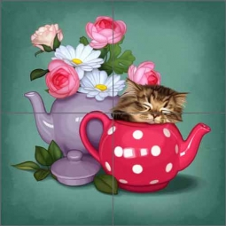 Cazenave Kitten Tea Pot Ceramic Tile Mural - MC2-010c