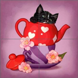Cazenave Kitten Tea Pot Ceramic Tile Mural - MC2-010d