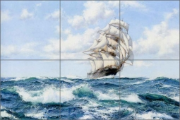 Onward, the clipper ship Norman by Montague Dawson Ceramic Tile Mural - MD001